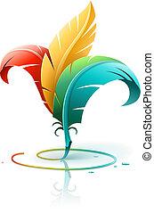 Kreatives Kunstkonzept mit Farbfedern