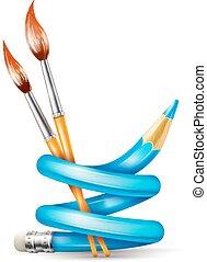 Kreatives Kunstkonzept mit verdrehtem Bleistift und Pinseln zum Zeichnen