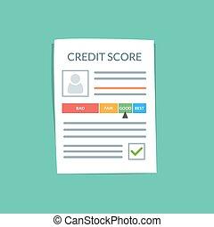 Kreditaufnahme-Dokument-Vektorkonzept. Persönliche Kreditgeschichte des Kunden auf einem Papierblatt. Guter Index der Kreditgeschichte und genehmigten Stempel. Flat Vektorgrafik isoliert auf Farbhintergrund.