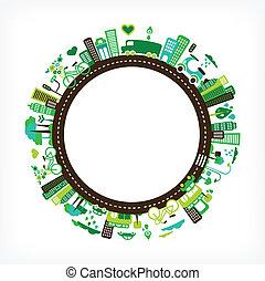 Kreis mit grüne Stadt - Umwelt und Ökologie.