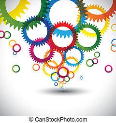kreise, ringe, grafik, bunte, heiligenbilder, viele, abstrakt, enthält, -, oder, hintergrund., farben, vektor, zahnräder, zahnrad