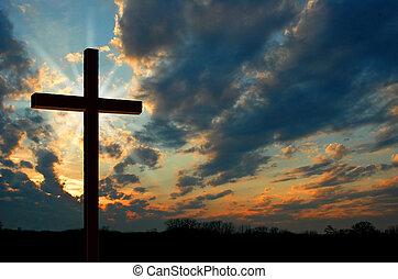Kreuze bei Sonnenuntergang