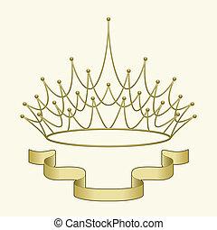 Krone mit Banner.