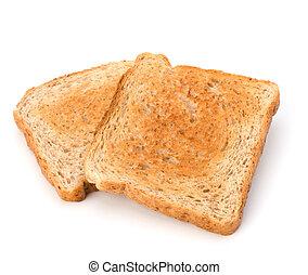 Krusty-Brot-Toastscheibe isoliert auf weißem Hintergrund