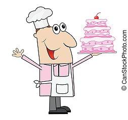 kuchen, mann, küchenchef, gebäck, hand