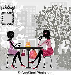kuchen, sommer, m�dchen, café