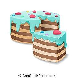 Kuchen und Kuchen Stück oder Kuchenscheibe Vektor