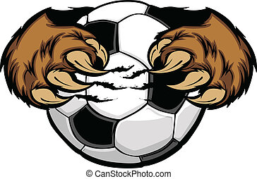 kugel, bärentatzen, fußball, vektor