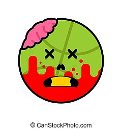 kugel, basketball, isolated., tot, zombie, vektor, grün, abbildung, brain.