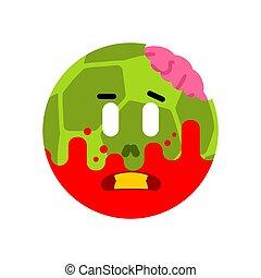 kugel, isolated., tot, zombie, vektor, grün, abbildung, brain., fußball