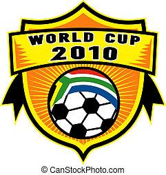kugel, schutzschirm, becher, innenseite, afrikas, fahne, republik, welt, wm 2010, süden, ikone