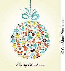 kugel, weihnachten, weihnachten, hintergrund, retro