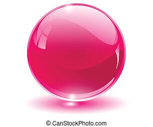 kugelförmig, 3d, kristall, glas