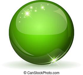 kugelförmig, grün, whi, glänzend, freigestellt