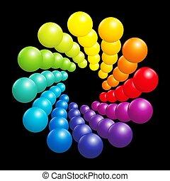 kugeln, farbe, spiralförmiges muster, spektrum, gefärbt, regenbogen