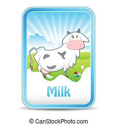 Kuh auf Milchbanner.