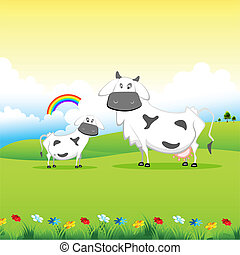 Kuh grast im Feld