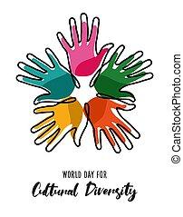 Kulturelle Vielfalt Tag Poster der Farbe menschliche Hände.