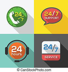 kunde, 24, satz, service, wohnung, unterstuetzung, stunden, ikone