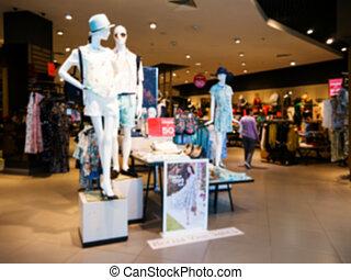 kunden, kleiden, mannequins, kaufmannsladen, verwischen