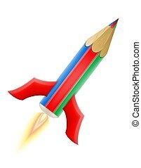 Kunst-Kreative Bleistift Konzept Raketenvektorgrafik.