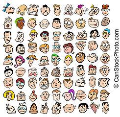 kunst, leute, gekritzel, heiligenbilder, gesicht, charaktere, ausdruck, karikatur, glücklich