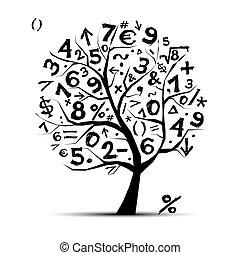 Kunstbaum mit mathematischen Symbolen für dein Design