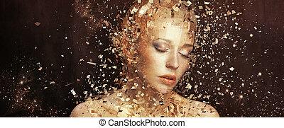 Kunstfoto der goldenen Frau, die sich auf tausende Elemente spaltet.