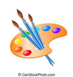 Kunstpalette mit Farbbürste zum Malen