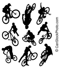 kunststück, silhouetten, fahrrad
