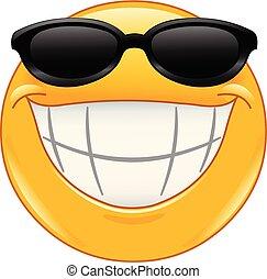 lächeln, emoticon, sonnenbrille, groß
