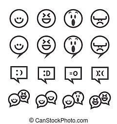 lächeln, linie, ikone