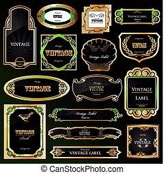 Label für dekorative schwarze goldene Rahmen. Vector