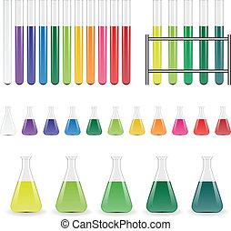 Labor-Flaken und Reagenzgläser