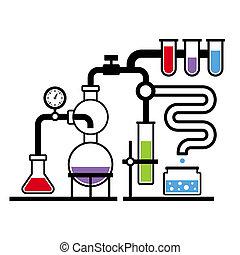 laboratorium, 3, infographic, satz, chemie