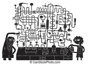laboratorium, labyrinth, spiel