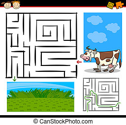 labyrinth, labyrinth, spiel, karikatur, oder