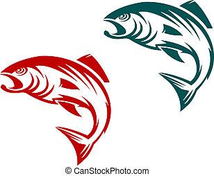 Lachsfischmaskottchen.