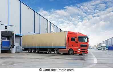 lager , ladung, -, transport, lastwagen