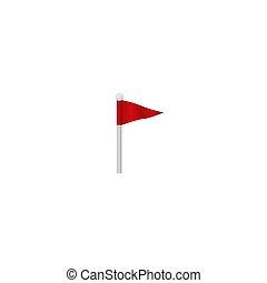 landkarte, navigate., fliegendes, flag., zeiger, rotes , wimpel, symbol, fest, bunte
