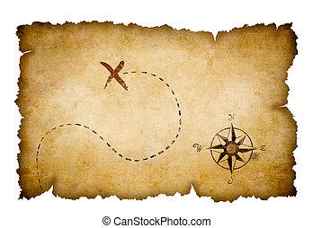 landkarte, schatz, piraten