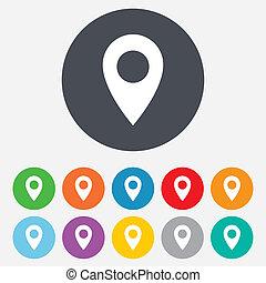 landkarte, symbol., ort, icon., zeiger, gps