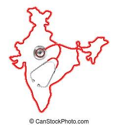 landkarte, ungefähr, medizin, hintergrund, indien, stethoskop, begriff