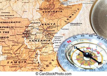 landkarte, uralt, weinlese, spielraum- bestimmungsort, kompaß, tansania, kenia