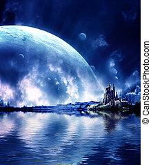 Landschaft in einem Fantasieplaneten