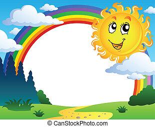 Landschaft mit Regenbogen und Sonne 2