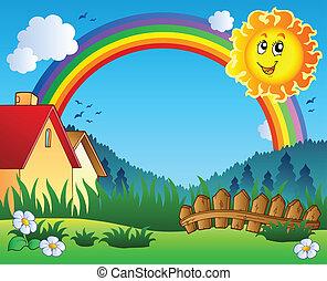 Landschaft mit Sonne und Regenbogen