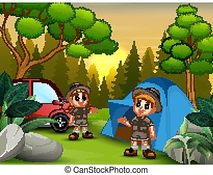 landschaftsbild, campingplatz, kinder, forscher, sonnenuntergang