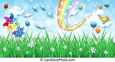 landschaftsbild, regenbogen, pinwheels, musik, phantastisch, vogel, farben