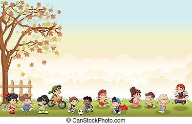 landschaftsbild, spielende , reizend, karikatur, gras, kinder, grün